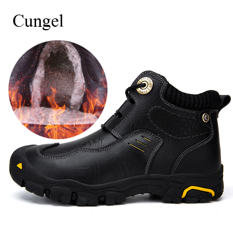 Cungel Winter Boots men Outdoor Trekking Hiking boots Warm plush Anti-skid Wear-resistant Leather boots Mountain climbing shoes 2018 new wide c d w massage sapatilhas outdoor trekking boots anti skid brand men shoes top quality mountain climbing hiking
