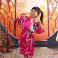 Дети Халат Дети Атласная Кимоно Халаты Невесты Платье Девушки Цветка Шелка детская халат Ночная Рубашка Кимоно Павлин халат