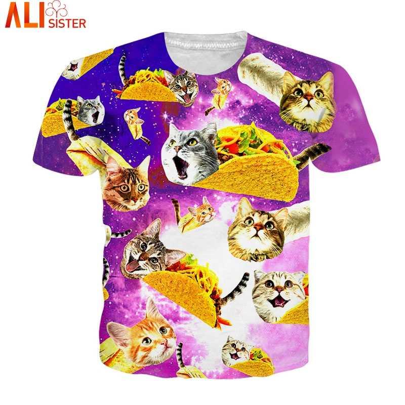Футболка Alisister с изображением пиццы, кошки, 3D, европейские размеры, Забавные футболки, Camisa Masculina, Мужские Женские повседневные топы, летняя футболка унисекс, Прямая поставка
