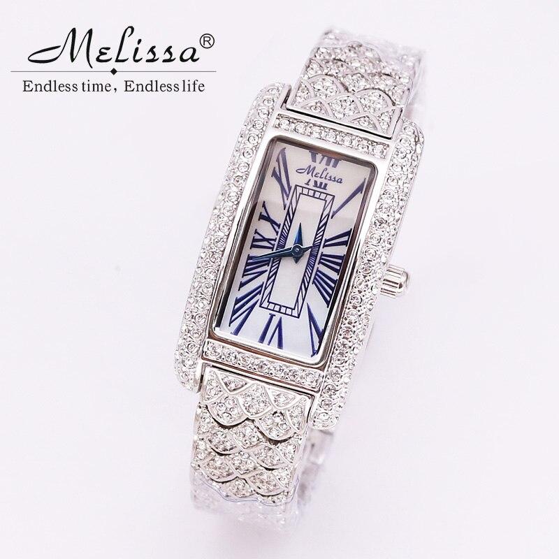 все цены на Luxury Melissa Lady Women's Watch Retro Fine Elegant Rhinestone Fashion Hours Bracelet Crystal Clock Girl's Birthday Gift Box