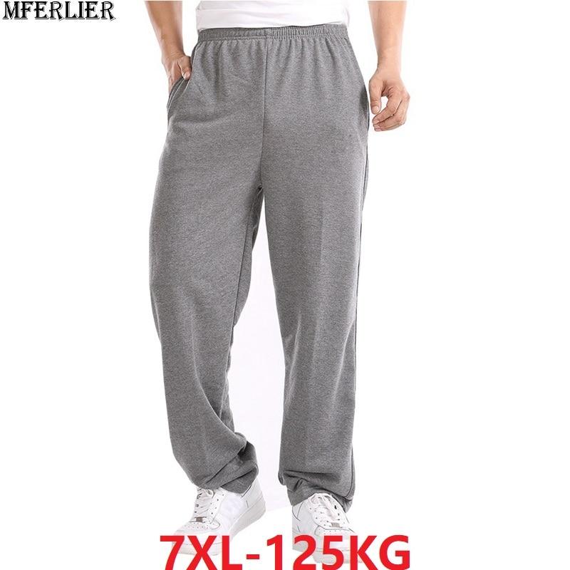 Spring Men Simple Cheap Sports Pants Big Size 7XL 8XL Man Summer Black Elasticity Pants Mens Home Pants Straight Trousers Cotton