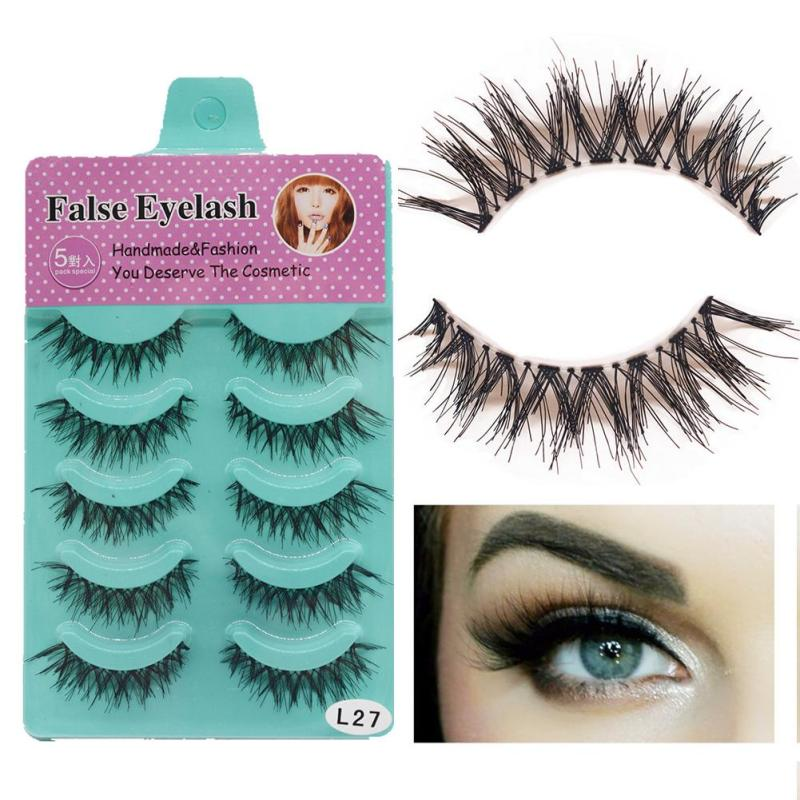 5 Pairs Natural False Eyelashes Fake Lashes 3D Mink Extention Curl Eyelash Handmade Eye Lashes Transparent Base B3