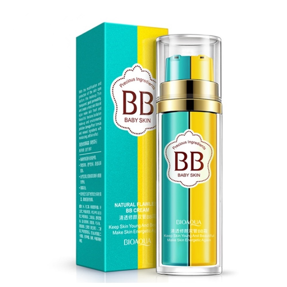 Face Double BB Cream Concealer Moisturizing Nourish Brighten BB Cream Natural Nude Makeup Long-Lasting Not Easy To Flower Makeup