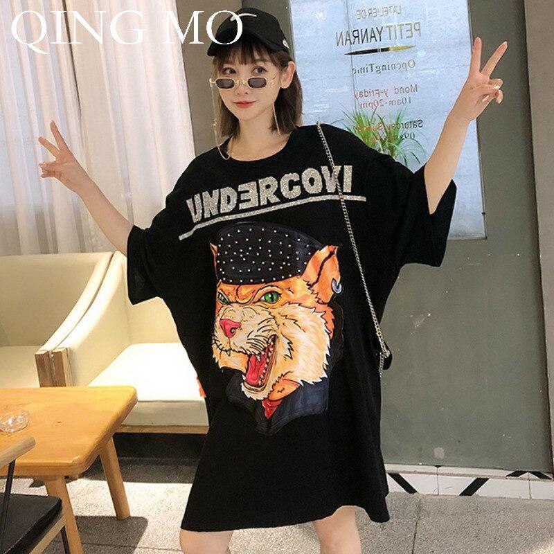 QING MO femmes imprimé Animal t-shirt robe noir blanc femmes d'été à manches courtes genou longueur robe femmes Patchwork robe ZQY646