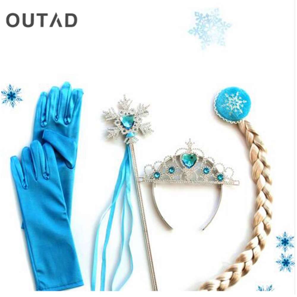 4Pcs/set For Princess Elsa Anna Hair Accessories Crown Wig + Magic Wand Glove Cosplay For Kids Dress Up Party Girl Gifts Hot