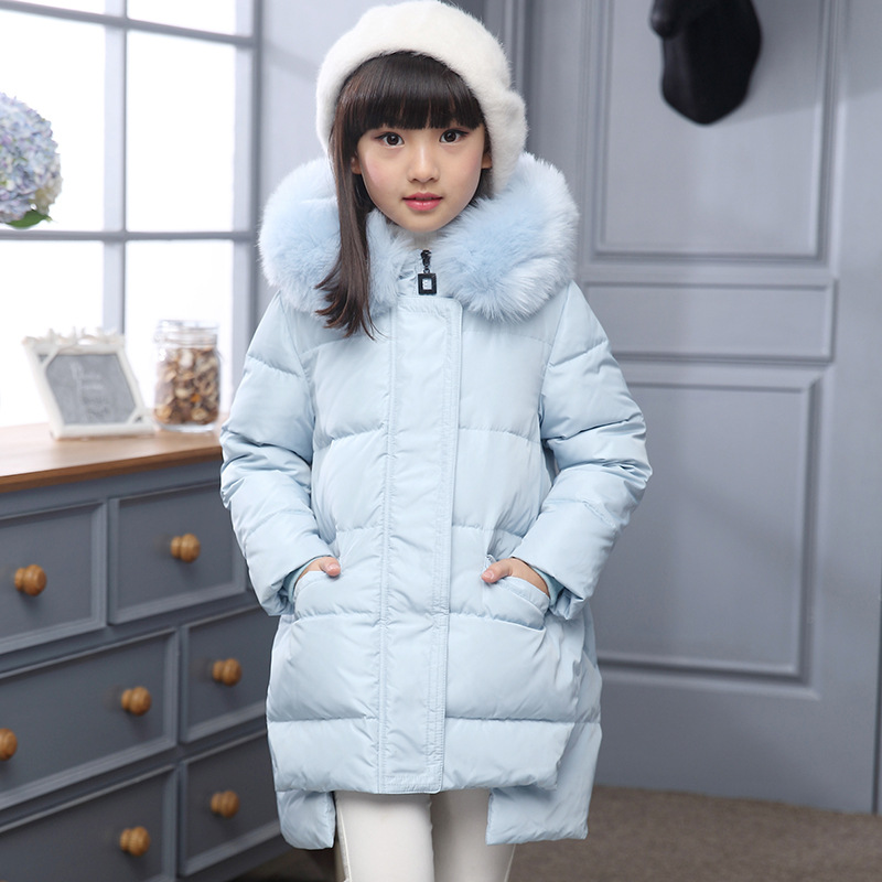 2017 Hooded Kids Girls Winter Coat Thicken Cotton-padded Jacket Girl's Down Jackets/coats Winterwarm Children For 120-150cm winter down jacket for girls kids clothes children thicken coats duck down jackets girls hooded bow snowsuits natural fur coat