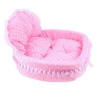 Princess Bowknot Style lace Pet Bed Super Cute Soft Winter House Warm Cotton Dog Pet Products Mini Puppy Comfortable Pet Sofa