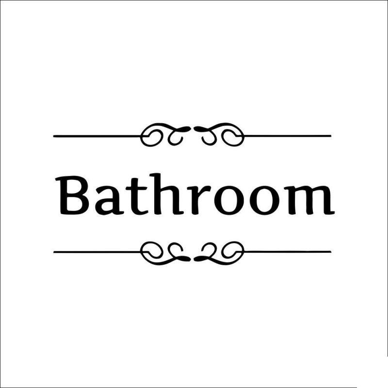 Bathroom Shower Room Door Entrance Sign Stickers Decoration Wall Decals For Shop Office Home Cafe Hotel Modern Black L50