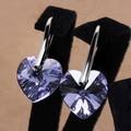 Бесплатная доставка Мода Белый Позолоченные Кристалл Серьги оптовая женская Серьги крюк сердце фиолетовый буле для женщин новый подарок