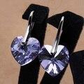 Envío de La Manera del Oro Blanco Plateó Los Pendientes de Cristal Pendientes gancho corazón púrpura del bule de las mujeres para las mujeres al por mayor nuevo regalo