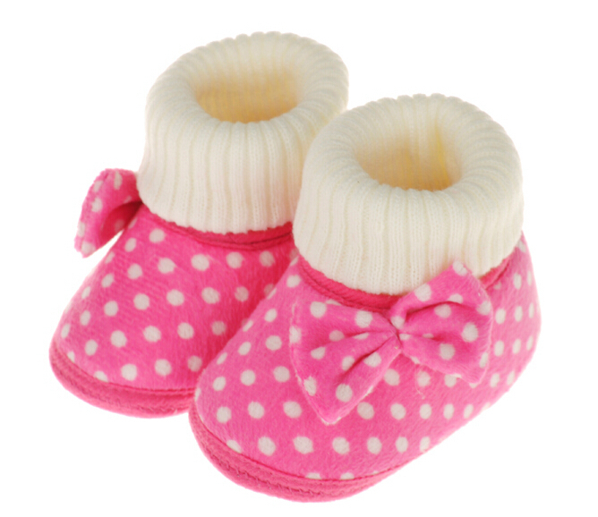 fa0406f6cecd6 US $21.4 |Polka Dot Soft Baby Shoes Fall Winter Baby Girl Shoes Thin Cotton  Toddler Shoes Non Slip Butterfly Knot Newborn Boots-in First Walkers from  ...