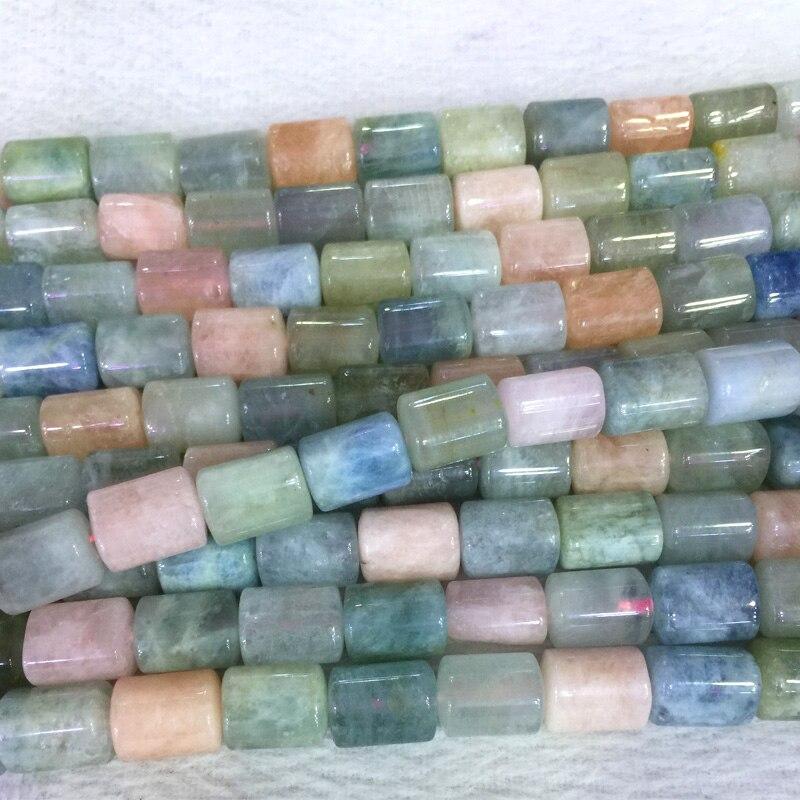 Naturel véritable multicolore vert bleu rose Morganite Tube colonnaire cylindrique lâche perles baril colonne perles 15