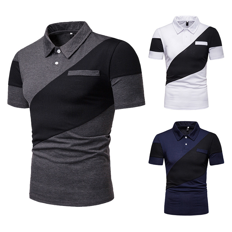 HuLooXuJi New Fashion Short-sleeved Men's Contrast Color Stitching Cotton   Polo   Shirt Casual Office   Polo   Shirts US Size:S-2XL