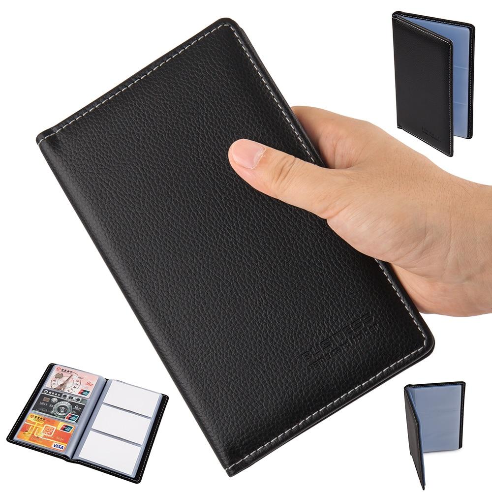 Us 6 59 40 Off Business Tragbaren Kreditkarte Halter High Quality Leder 90 Taschen Scheckkarte Kasten Halter Organisator Buch In Karte Id Halter