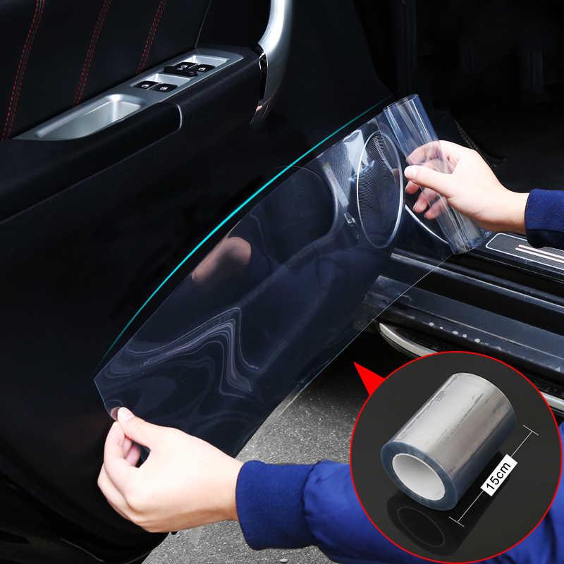 Coche estilizado 15*100cm Piel de rinoceronte coche película protectora Anti-kick película transparente Invisible capó y parachoques de coche pintura proteger la etiqueta engomada