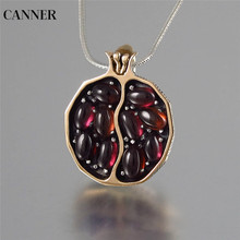 Canner Red Pomegranate Garnet Necklace Vintage Round Gold Color CZ Stone Necklaces For Woman Girl Jewelry Gift