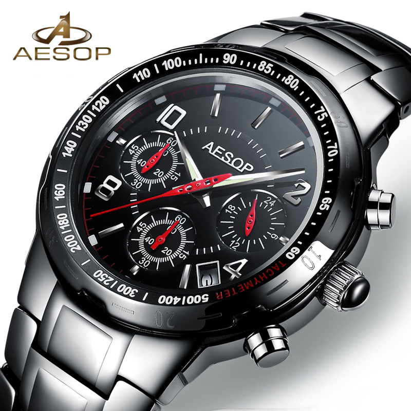 AESOP Brand Sport Men Watch Quartz Wristwatch Military Waterproof Shockproof Ceramic Black Male Clock Relogio Masculino