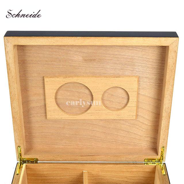 Humidor Black Cedar Wood Cigar with Hygrometer