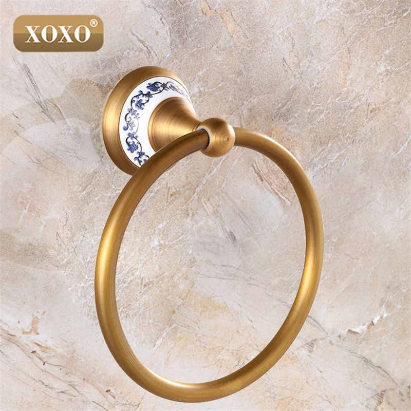 XOXO quality wall mount Towel Ring/Towel Holder,Solid Brass Construction, Antique Bronze finish,Bathroom Accessories 11080BT towel rings wall mounted towel holder towel ring solid brass construction antique bronze finish bathroom accessories hj 1808