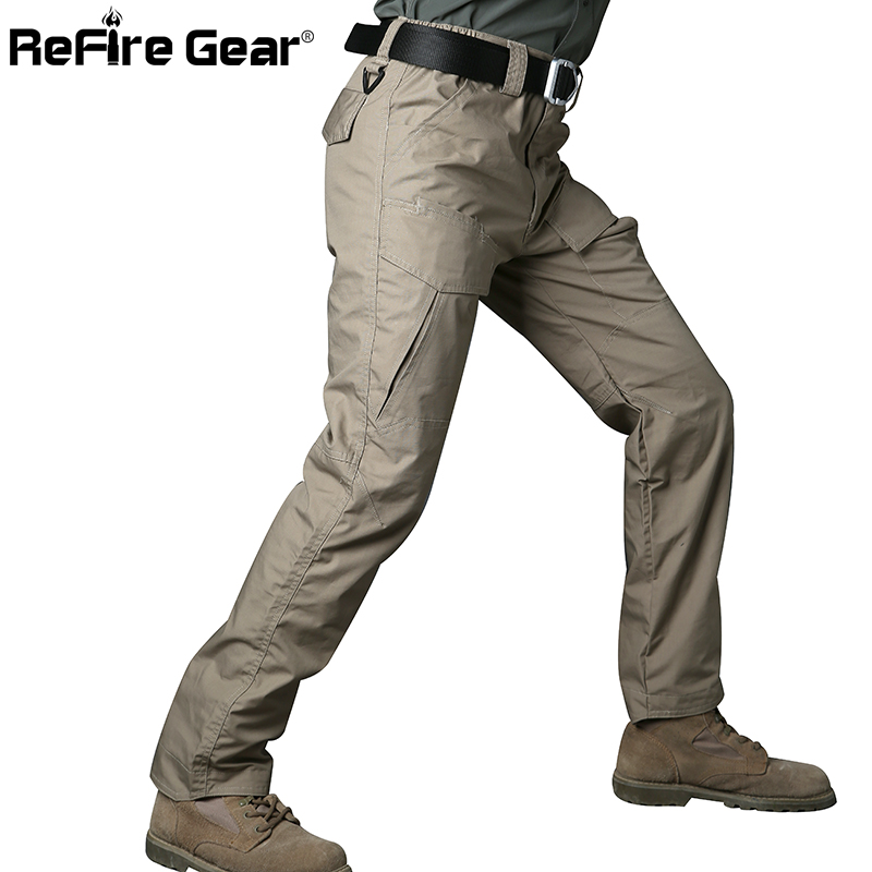 ReFire Gear Rip-Stop Cotton Waterproof Tactical Pants Men Camouflage Military Cargo Pants Man Multi Pockets Army Combat Trousers
