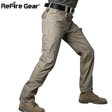 ReFire Gear Rip Stop Cotton Waterproof Tactical Pants Men Camouflage Military Cargo Pants Man Multi Pockets Army Combat Trousers