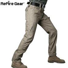 Refire engrenagem rip stop algodão à prova dwaterproof água calças táticas homens camuflagem militar carga calças homem multi bolsos calças de combate do exército