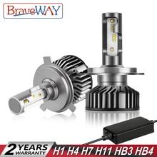 BraveWay светодиодный светильник H1 H4 H7 H8 H11 HB3 HB4 9005 9006 автомобилей лампочки Светодиодный фар с Canbus для moto Авто moto rcycle далеко луча