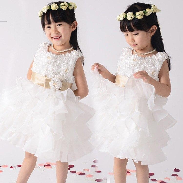 ФОТО Layered dress White red  wedding dresses for children flower girls dresses bridesmaid princess dresses sweet vestidos pricesa