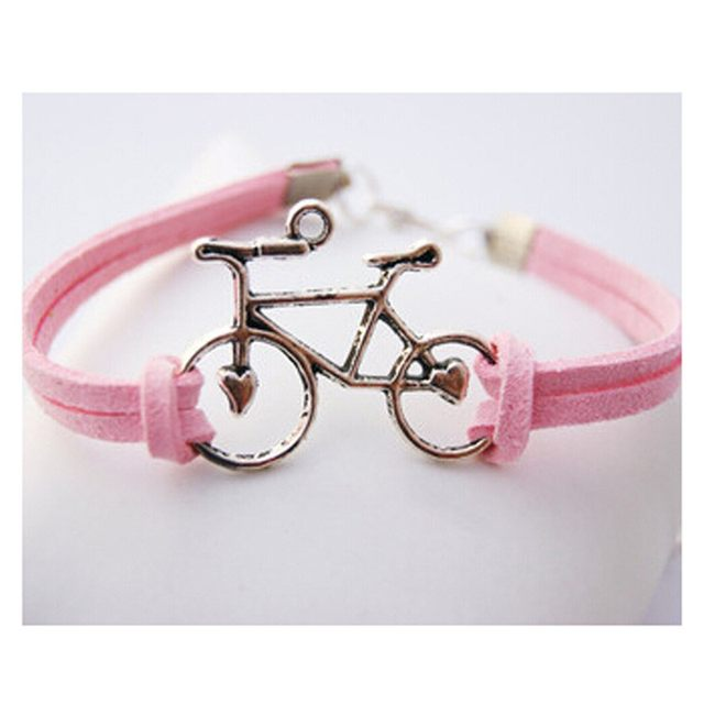 Women Vintage Leather Rope Bicycle Charm Bracelets Personalized Handmade Chain Bike Wrap Bracelet Cuff Bangle