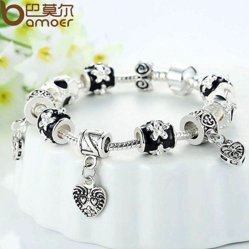 BAMOER Black Silver Heart Bead Charm Bracelet Silver 925 for Women Imitation Jewelry PA1432