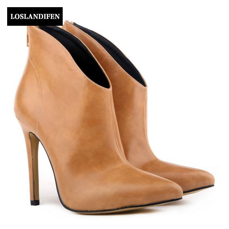 Sping Winter British Womens Pu Leather Thin Heels Ankle Boots For Woman Pointed Toe Back Zip High Heels botas mujer arrylinfashion british fashion all match ankle boots top leather autumn botas femininas pointed toe charming thin high heels