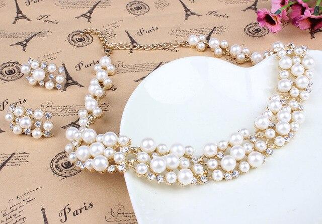 Conjunto de joias de pérolas, conjunto de joias para mulheres, contas africanas, dourado, cristal, colar dubai, fantasia 3