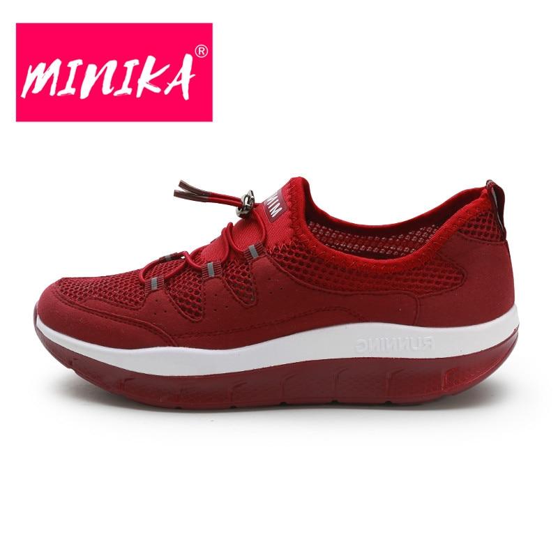 Respirant Chaussures Plates Lace Qualité Femmes Haute forme Plate Sneakers D'été gris Mesh Noir Confortable bleu Up Minika Rouge vin YwO45g