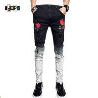 Idopy Summer New Skinny Jeans Men Fashion Flower Embroidery Men Jeans Casual Slim Fit Black Hip Hop Denim Pants Men Trousers