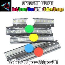 6 Values x100pcs =600pcs (600pcs/lot) 0603 SMD LED Kits Red Yellow Blue Emerald Green Orange White 6 colors each 100pcs(China)