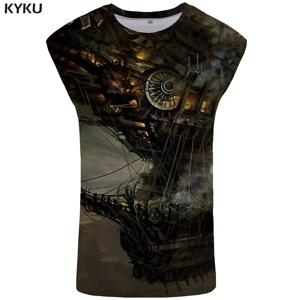 KYKU Brand Pirate   Tank     Top   Men Metal Singlet Ferry Vest Mechanical Undershirt Space Ftness Clothing Sleeveless Shirt New Hip Hop