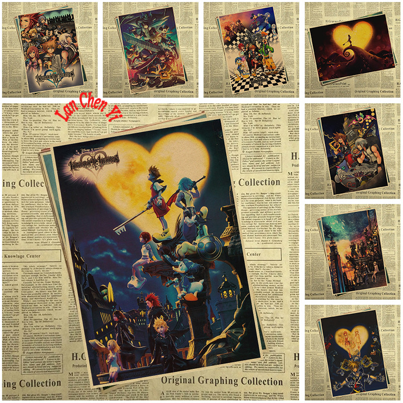 Kingdom Hearts Poster New Video Game Anime Cartoon Movie Kraft paper Posters Painting Wall Art Picture Home Decor