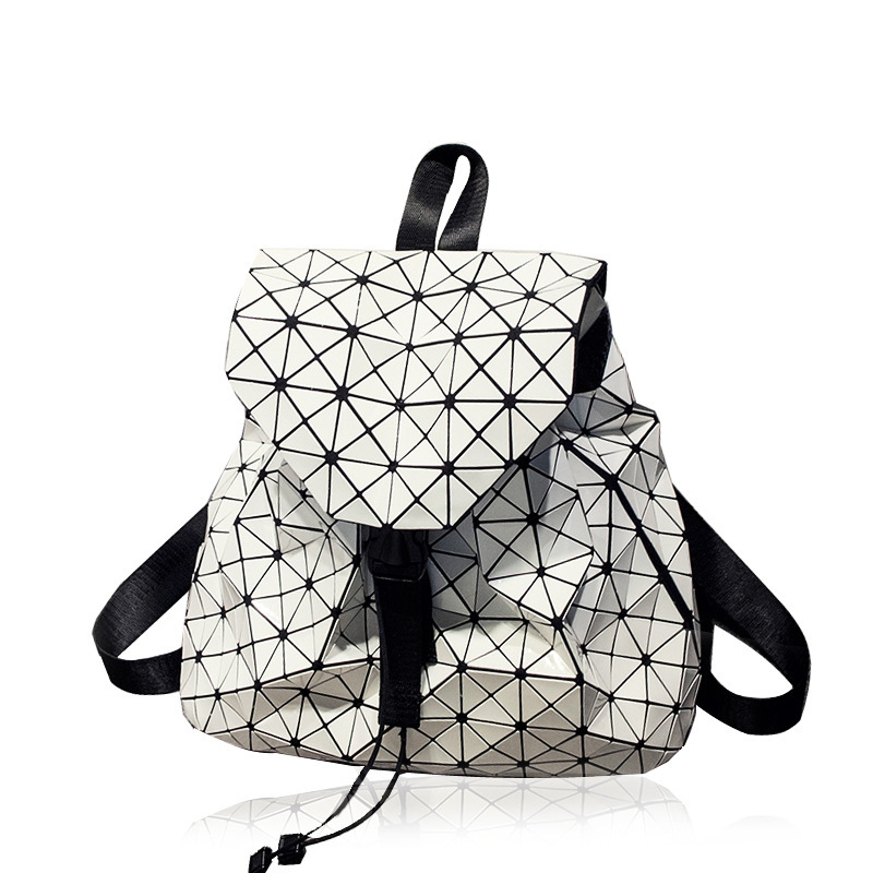 Women Backpack Geometric Plaid Sequin Female Backpack For Teenager Girls Bagpack Mirror Drawstring Bag Holographic Backpack