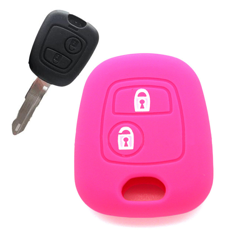 1pc Silicone Key Case Cover for Peugeot Black Pink Red Purple Key Case Auto Car Accessories
