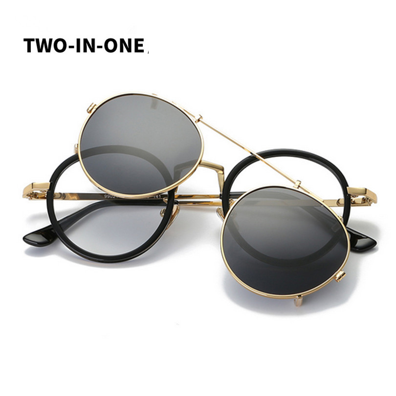 Shop2881384 Store Fashion Steampunk Sunglasses rock  Men Sunglass Mirrored  Polarized Clip on rays  Sunglasses Mirror round Glasses women 405