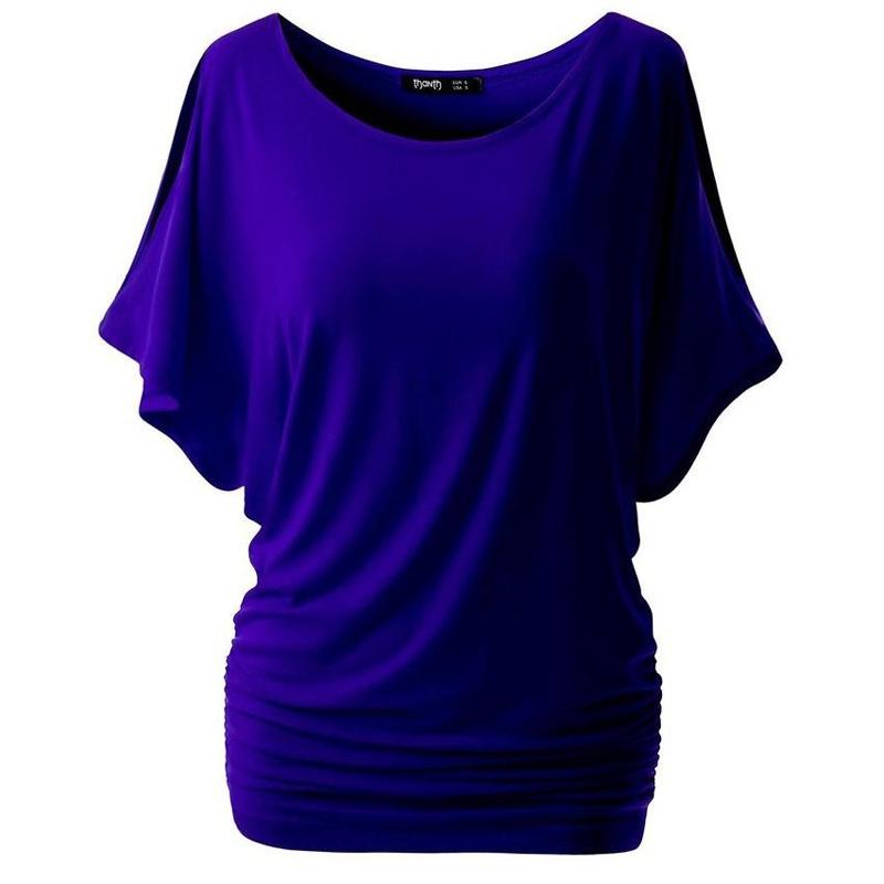 HTB1M683RFXXXXapXXXXq6xXFXXXV - T Shirt Women Batwing Sleeve Shirts Top Solid O-Neck Cotton