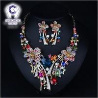 HanCheng פרחי אופנה יוקרה זהב מתכת ריינסטון תכשיטי נשים שרשרת קולר הצהרת גביש גדול מקסי leagtha קולייר