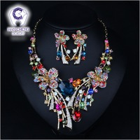 Fashion Flowers Gold Plated Rhinestone Big Created Crystal Earrings Statement Maxi Choker Necklace Women Jewelry Sets