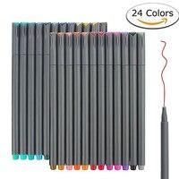 Файнлайнер Набор 24 цветов тонкий кончик наброски письмо и рисование маркеры ручки тонкая линия точка набор маркеров для планировщик журнал