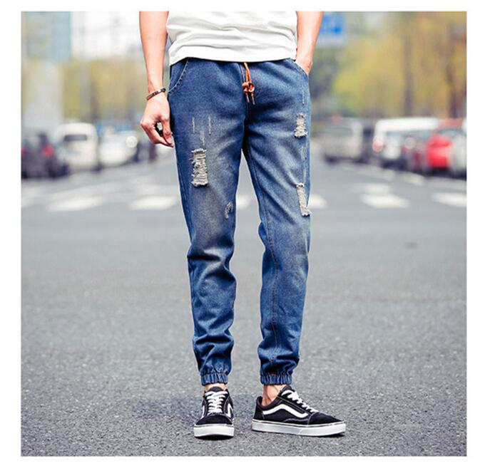 2017 Top Time-limited Midweight Slim The Summer Collecting Hole Jeans Men's Crotch Hanging Foot Ankle Banded Pants Haren Feet morais r the hundred foot journey