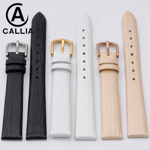 Genuine Calf Hide Leather Lizard texture Watch Strap For AR 1853 Watch Band champagne color For casio 10MM 14MM