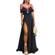 Dress Women Vintage Boho Sleeveless Spaghetti Strap Ruffles V Neck Maxi Dress Women Summer Split Party Beach Dress vestidos D40 цена 2017