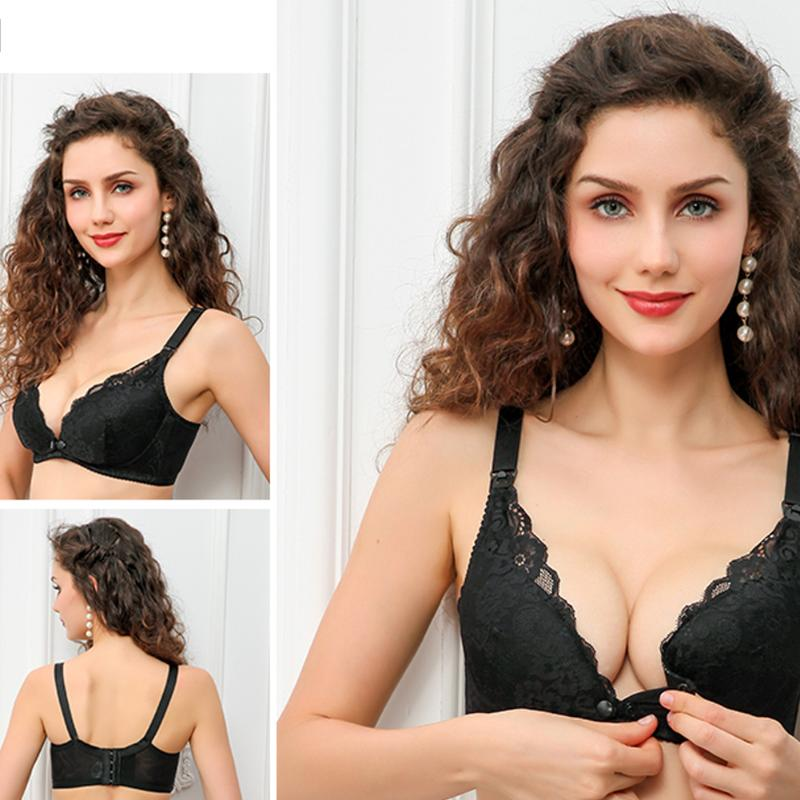 New Front Button Maternity Women Nursing Bra Soft Breathable Lace Flower Pregnant Women Breast Feeding Underwear Nursing Bras