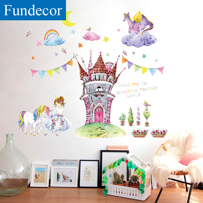 US $6.82 39% OFF|[Fundecor] Fairy Tale World Cartoon Children Wall Stickers  For Kids Rooms Baby Girls Bedroom Wall Decals Mural DIY 3d Home Decor-in ...