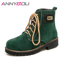 Фотография ANNYMOLI Ankle Boots Women Lace Up Sewing Winter Boots Low Heel Round Toe Platform Shoes Large Size 43 Women Casual Martin Boots